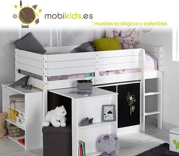 Cama media alta camas en alturas camas altas en mobikids for Camas en altura juveniles