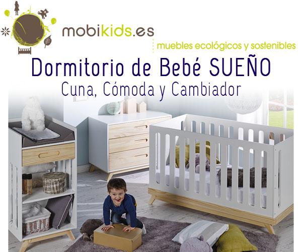 Dormitorio bebé: Cuna Evolutiva, Cómoda y Cambiador