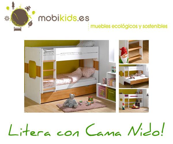 Literas juveniles con cama nido o caj n de almacenaje for Camas juveniles con almacenaje