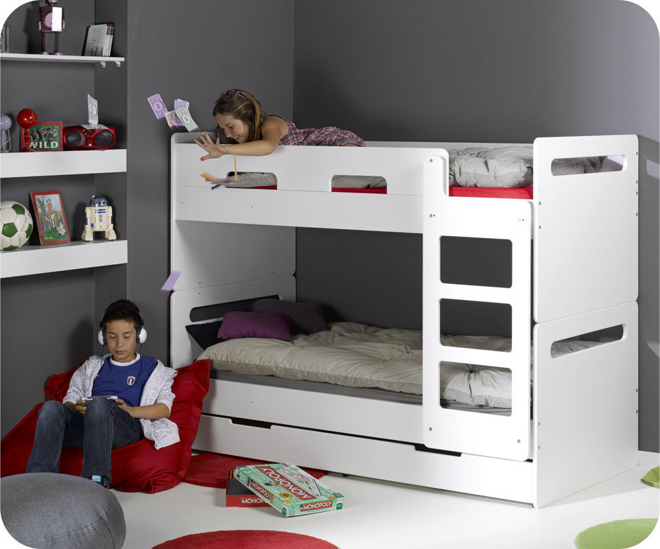 Venta litera juvenil opci n 3 cama blanca del modelo ed n - Modelos de camas nido para ninos ...