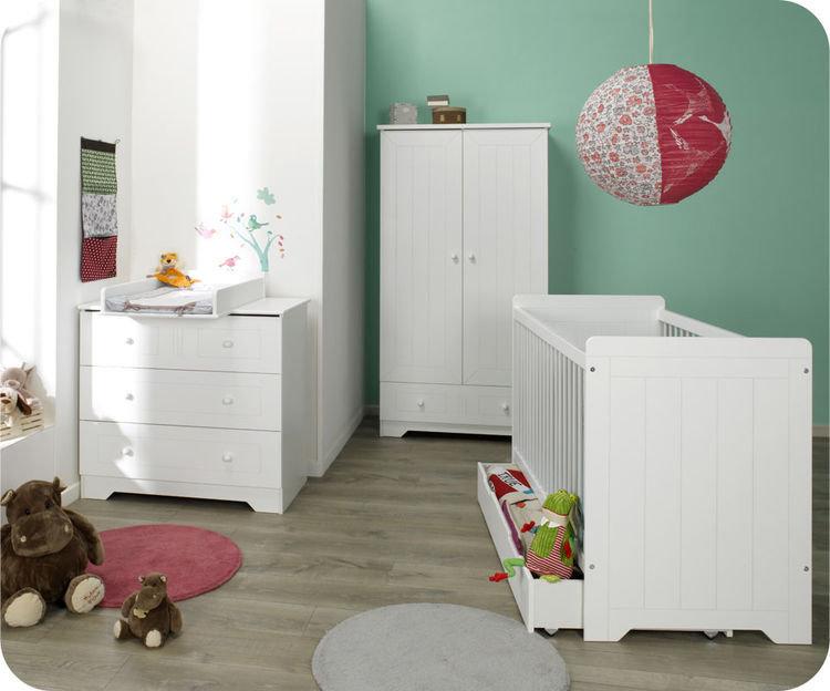 Habitaci n beb color blanco cuna c moda armario for Habitacion completa bebe boy