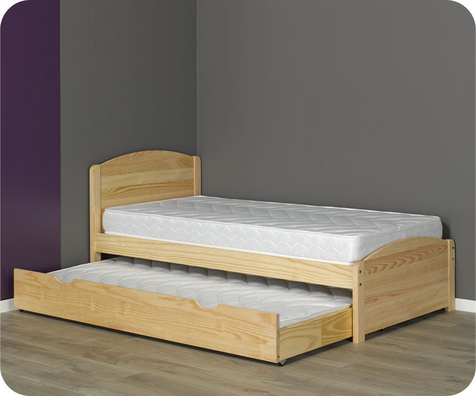 Caj n cama madera maciza 90x190cm color natural for Cama con cajones 90x190