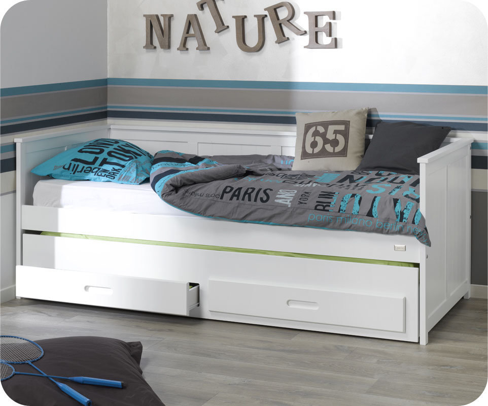 comprar cama nido juvenil de 90x200cm con colchones y caj n. Black Bedroom Furniture Sets. Home Design Ideas