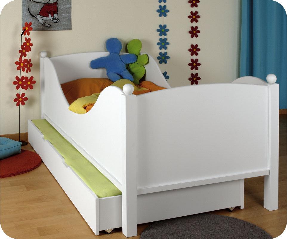 Cama infantil con somier y colch n 90x190cm en color blanco - Somier para ninos ...