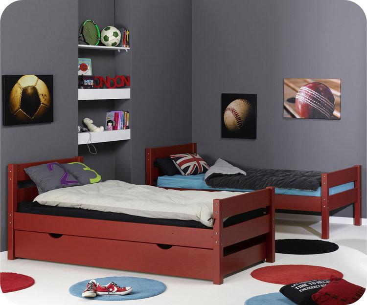 venta de litera juvenil en rojo con colchones incluidos. Black Bedroom Furniture Sets. Home Design Ideas