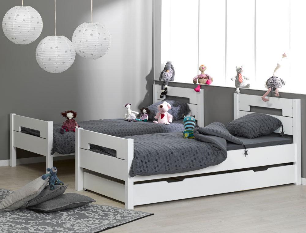 Venta de litera juvenil blanca con 3 cama opcional for Camas gemelas juveniles