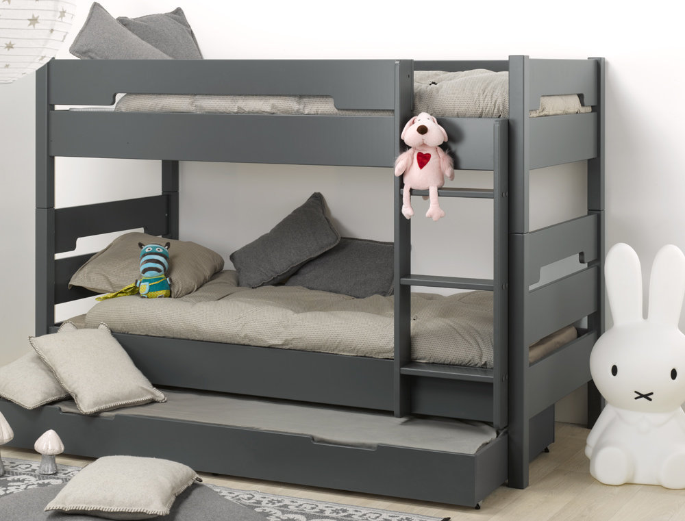 ... juvenil de 90x190cm, color gris, modelo MILO. Con caju00f3n/cama inferior