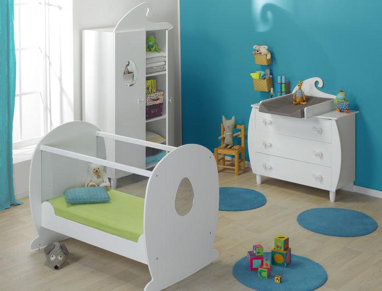 Habitaci n de beb completa blanca cuna c moda y armario - Habitacion completa bebe ...