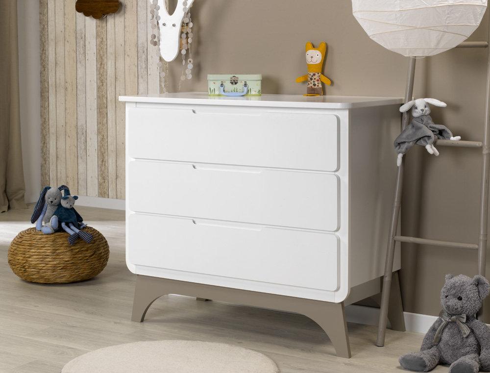 Comprar c moda beb en color blanco y lino con tres cajones - Cambiador de bb ...