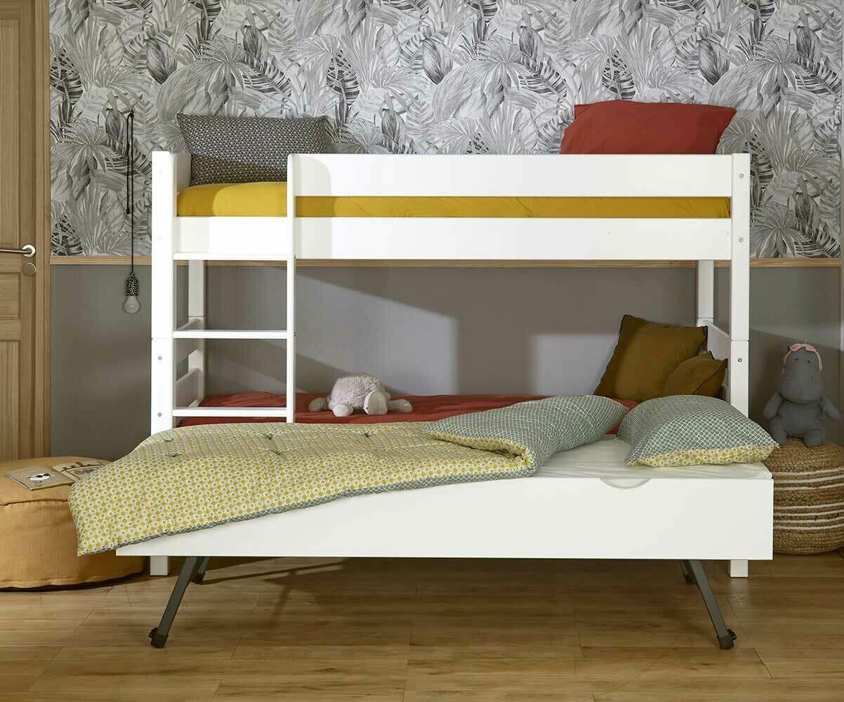 Litera juvenil con cama nido en color blanco del modelo 1 2 3 - Comment disposer une chambre ...