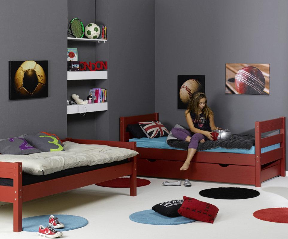 Litera 1 2 3 con cama nido supletoria roja 90x190cm for Cama supletoria