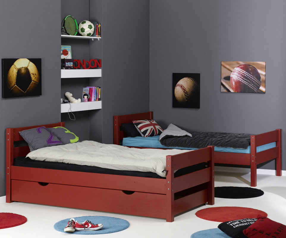 Litera 1 2 3 con cama nido supletoria roja 90x190cm - Literas de 3 camas ...