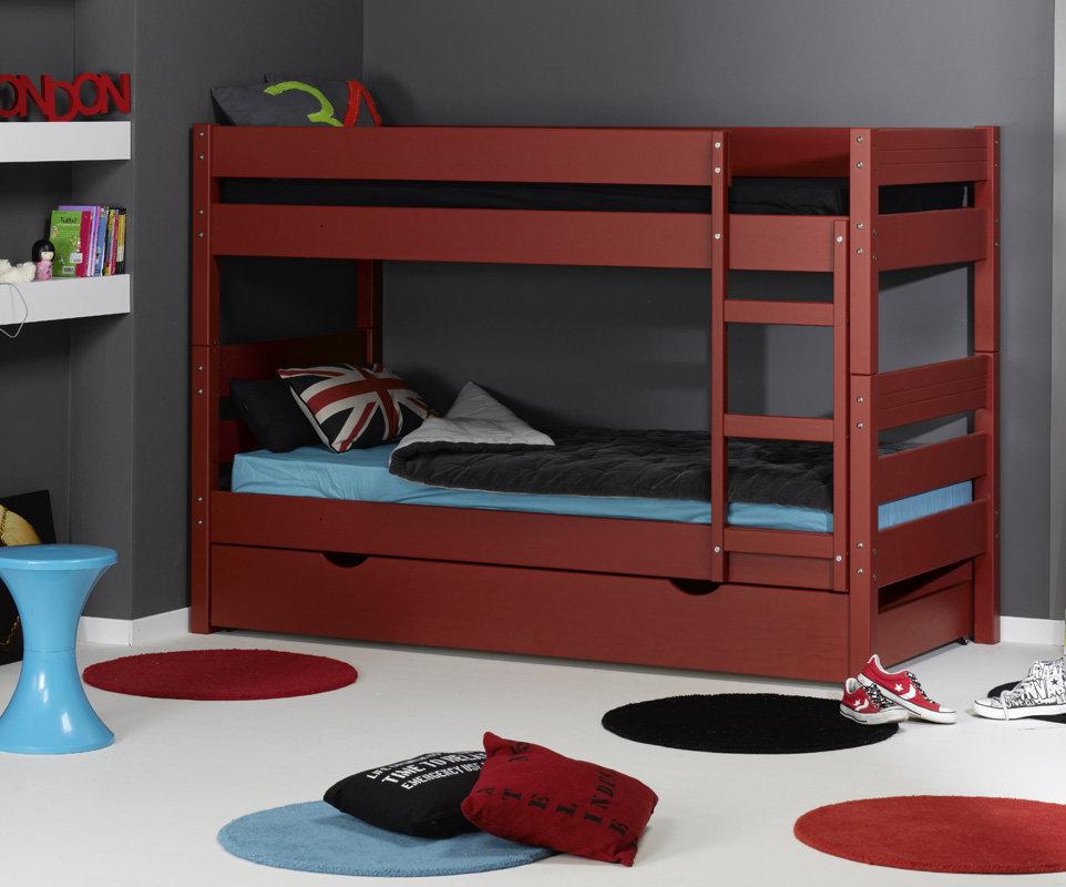 Litera 1 2 3 con cama nido supletoria roja 90x190cm for Camas literas juveniles