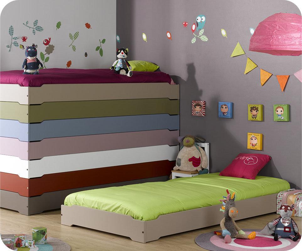Camas apilables en color lino con somier incluido - Somier para ninos ...