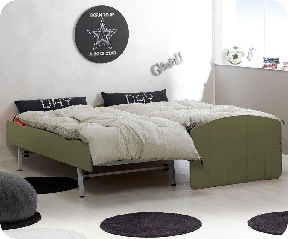 Comprar cama nido juvenil de 90x190cm verde oliva madera for Cama nido color haya