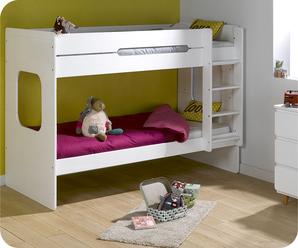 litera juvenil 90x200 de madera maciza modelo spark blanca. Black Bedroom Furniture Sets. Home Design Ideas