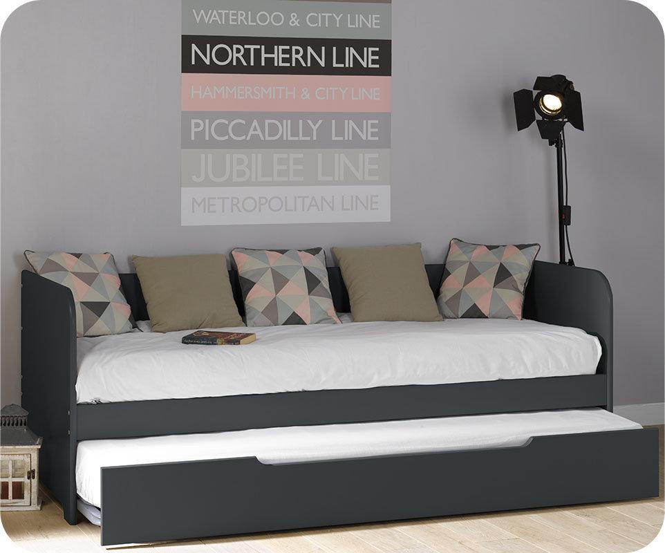 Sof cama nido juvenil de 80x200cm gris antracita modelo bali for Sillon cama juvenil