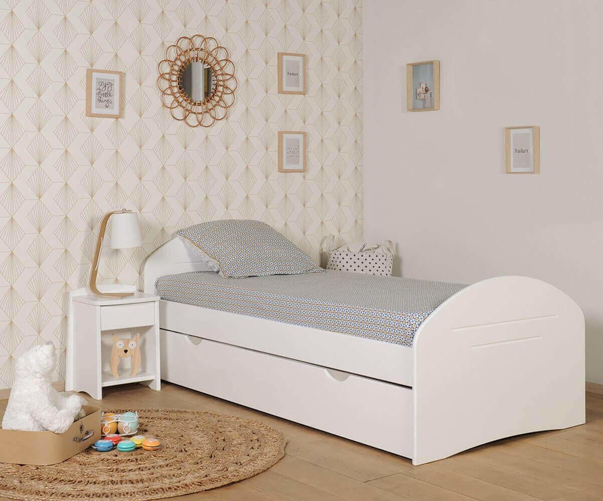 Cama evolutiva de 140 a 200cm color blanco del modelo spoom - Camas blancas ...