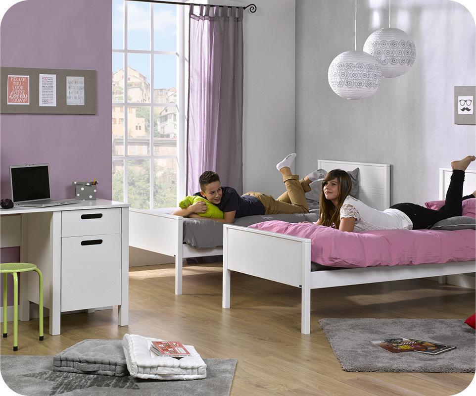 Comprar cama juvenil somier y colch n 90x200cm blanco ines for Habitacion juvenil 2 camas
