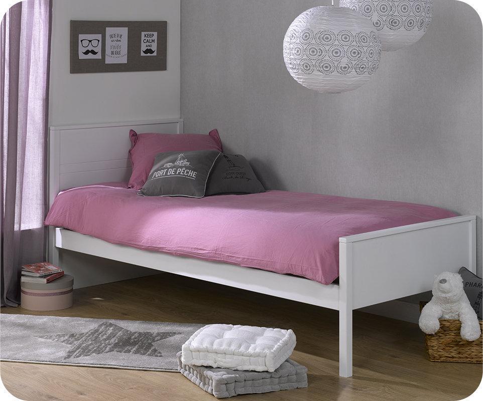 Comprar cama juvenil somier y colch n 90x200cm blanco ines for Camas blancas juveniles