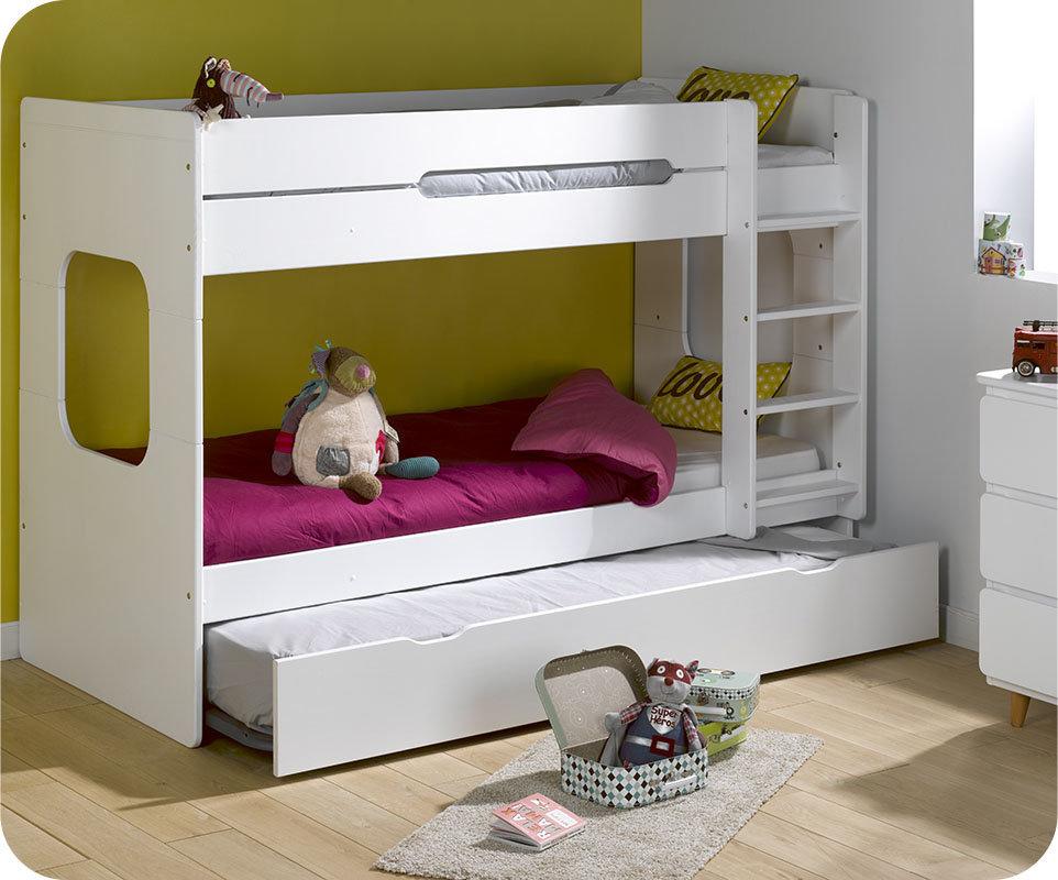 Litera spark con cama nido 90x200cm blanca - Literas nido 3 camas ...