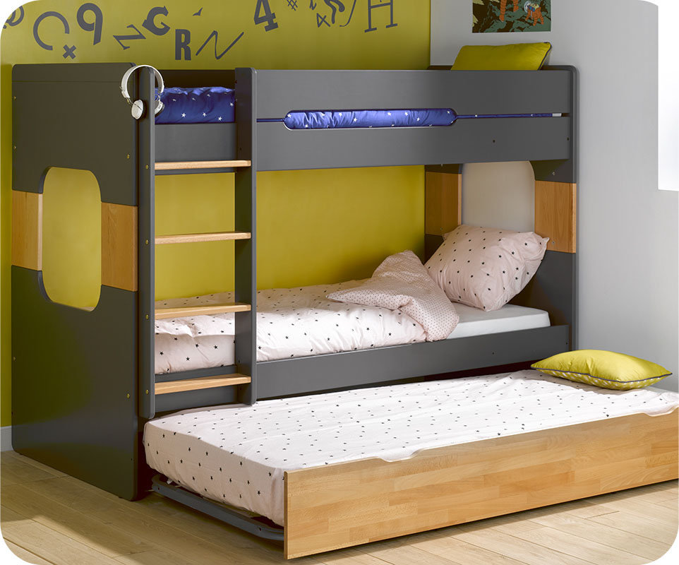 Litera 90x200cm con cama nido en gris antracita y haya for Cama nido color haya
