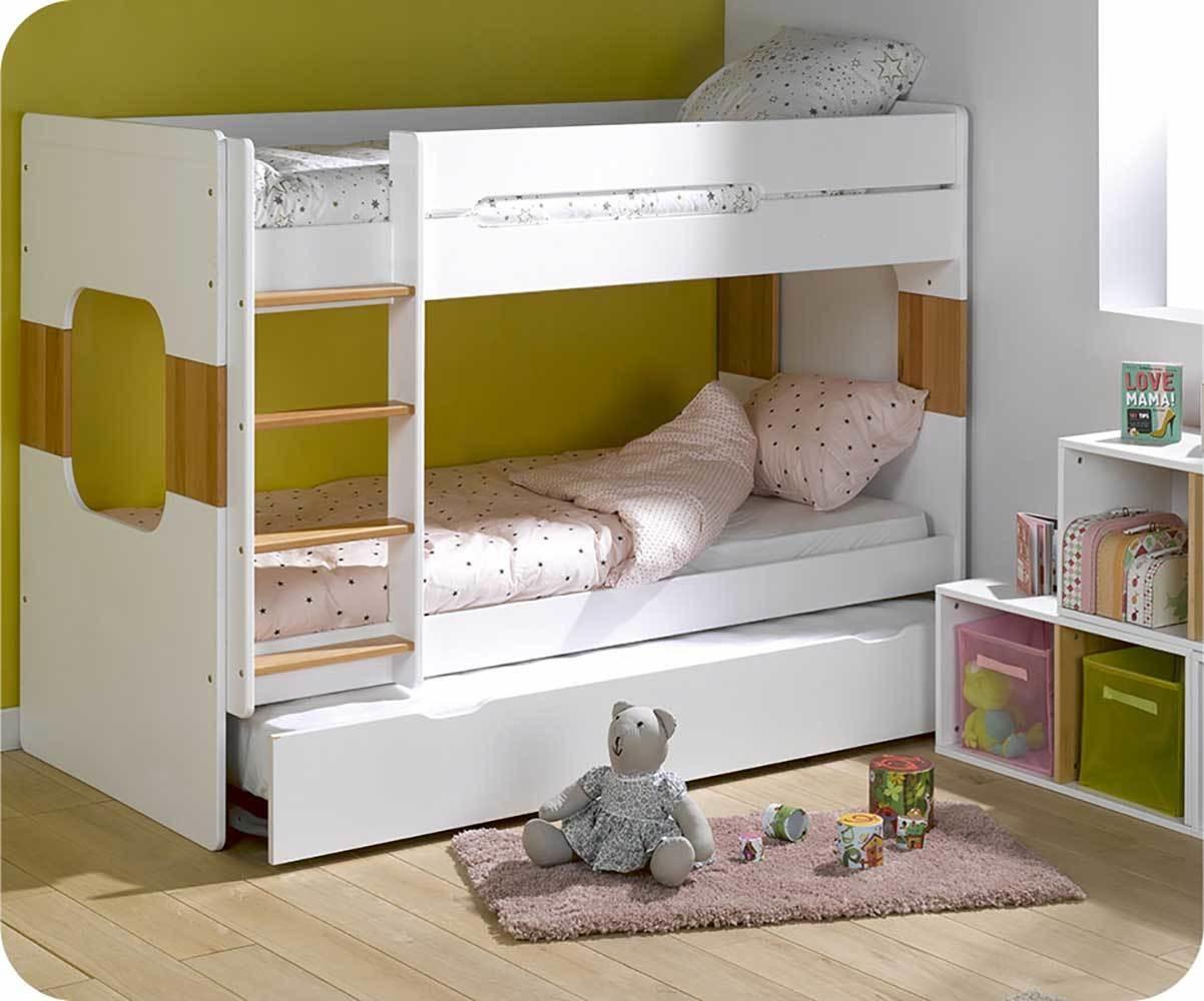 Litera spark con cama nido 90x200cm blanca y haya - Literas blancas ...