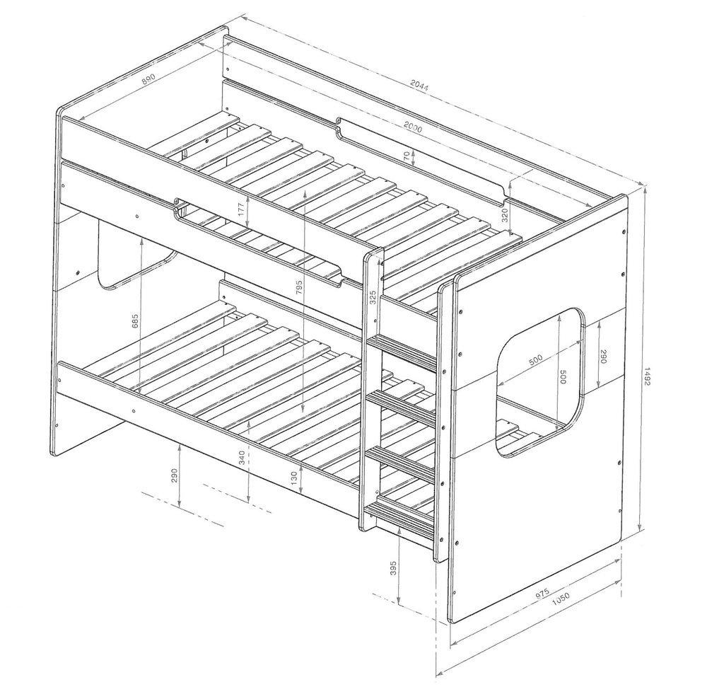 Litera spark con cama nido 90x200cm blanca y haya for Cama nido color madera