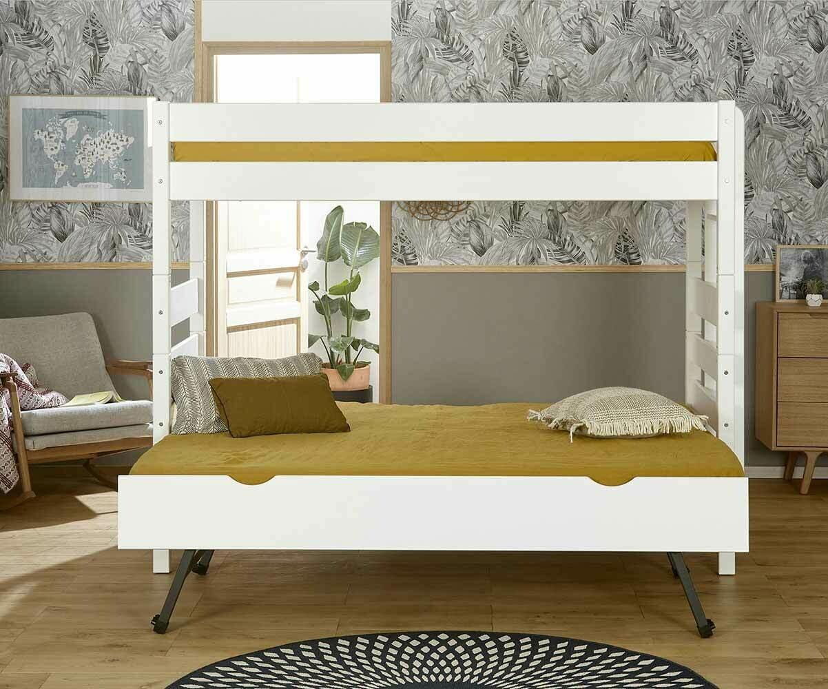 Litera alta con cama nido color blanco 90x190 cm - Litera con cama nido ...