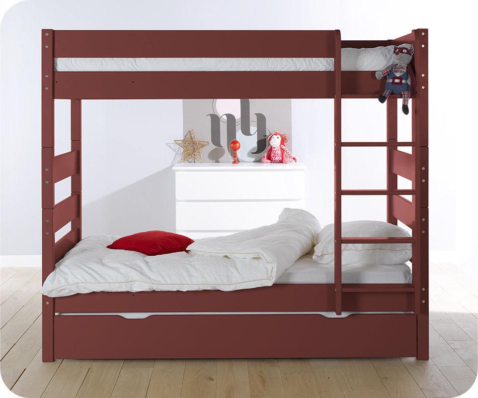 Litera alta con cama nido color roja 90x190 cm for Cama supletoria