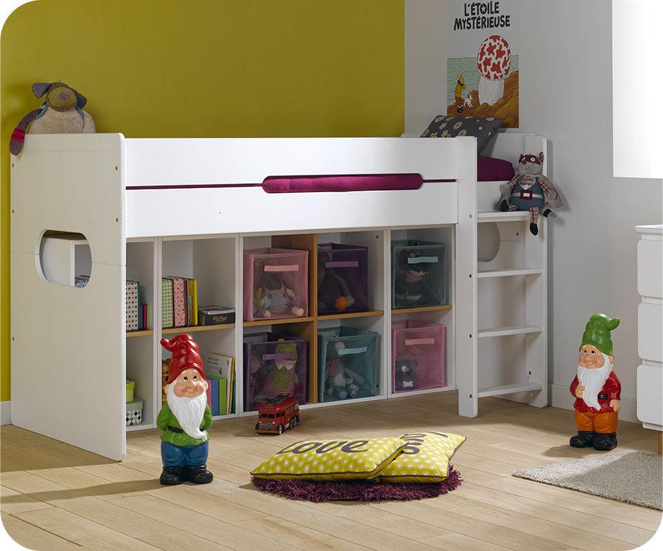cama juvenil media alta de 90x200cm con colch n color blanco. Black Bedroom Furniture Sets. Home Design Ideas