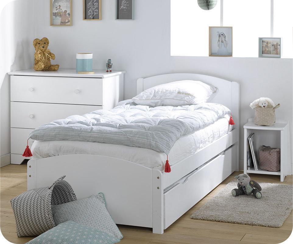 Dormitorio juvenil de madera maciza color blanco 4 muebles - Dormitorios juveniles de madera maciza ...