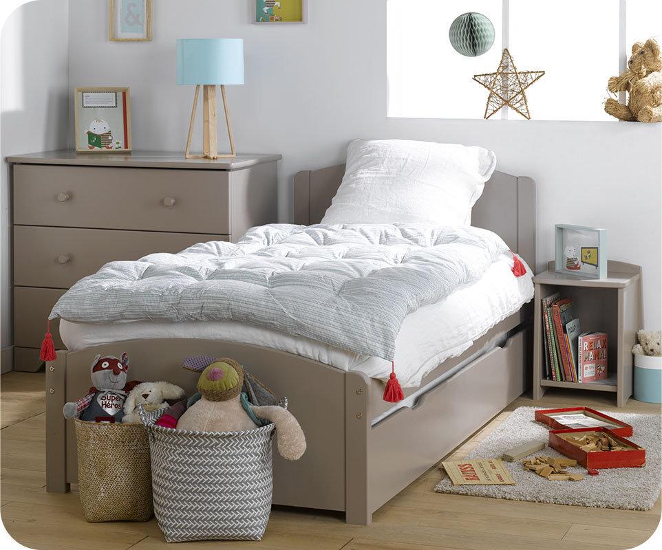 Dormitorio juvenil de madera maciza color lino 4 muebles - Dormitorios juveniles de madera maciza ...