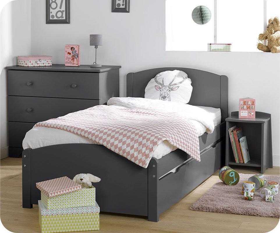 Dormitorio juvenil de madera maciza color antracita 4 for Dormitorio gris