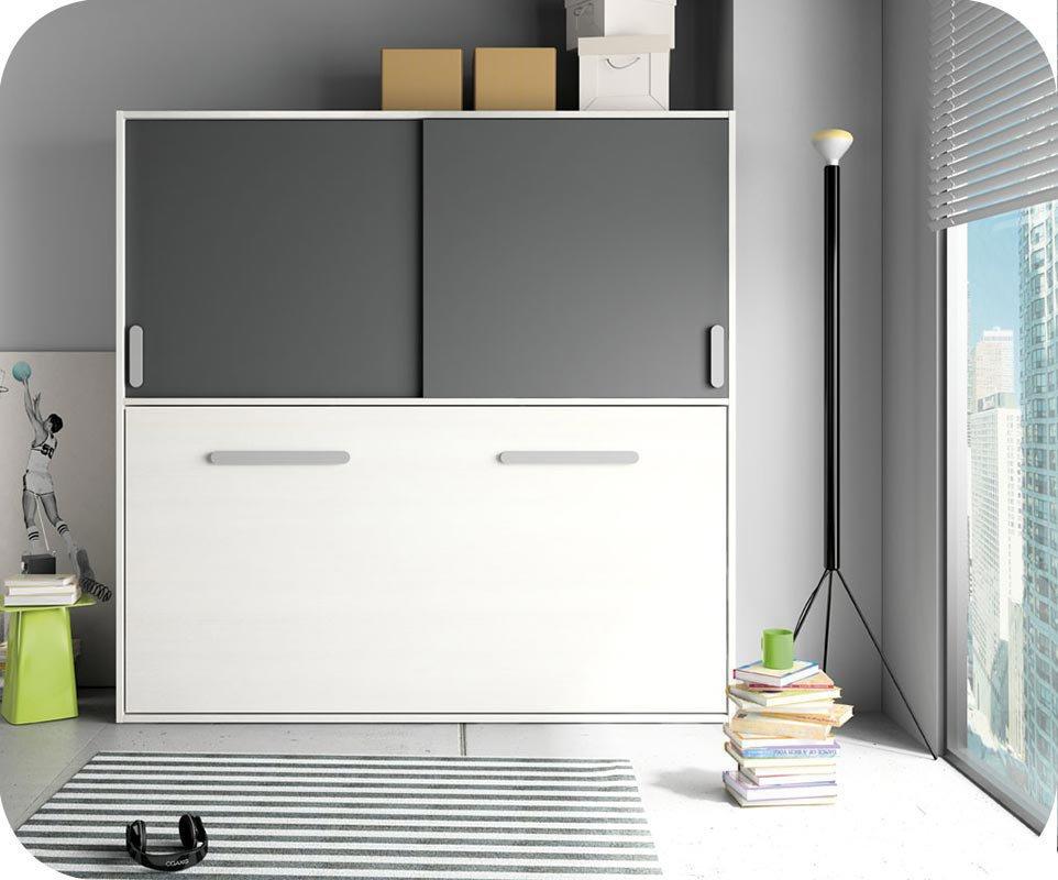 Cama juvenil abatible blanca y gris antracita 90x190 cm - Habitacion gris y blanca ...