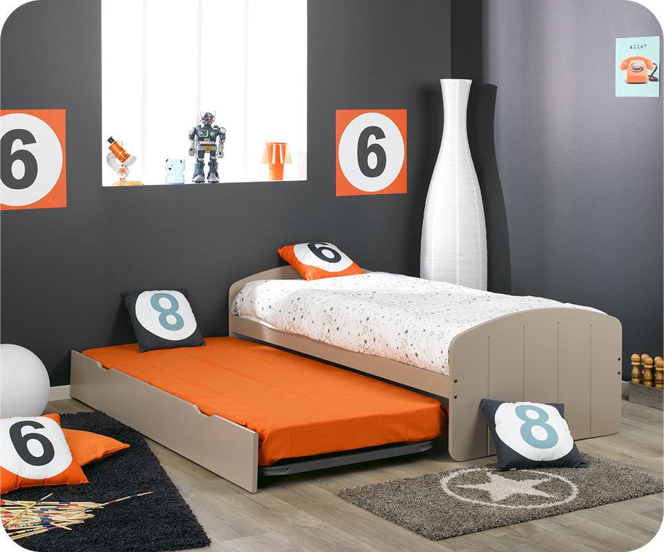 Comprar cama nido con 2 colchones color lino for Cama nido con colchones