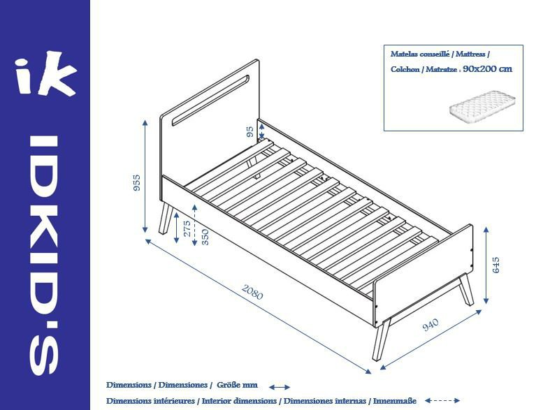Cama nido 90x200 con 2 colchones en blanco madera for Dimensiones cama nido