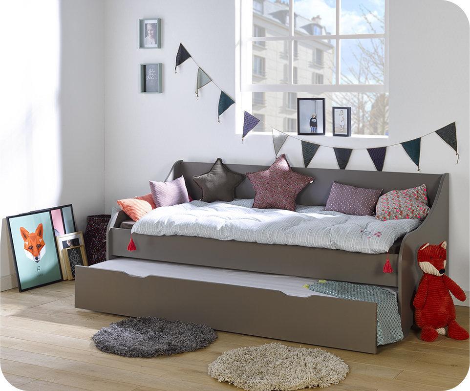 Sof cama nido con colchones de 80x200 cm gris for Dimensiones cama nido