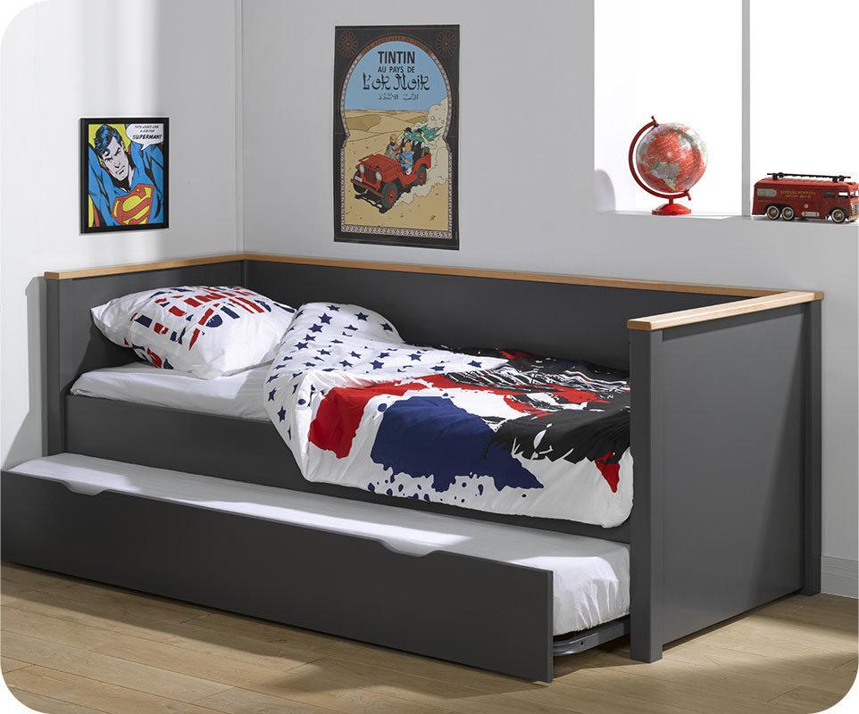 Sof cama nido 80x200cm nova gris antracita haya for Cama nido color haya