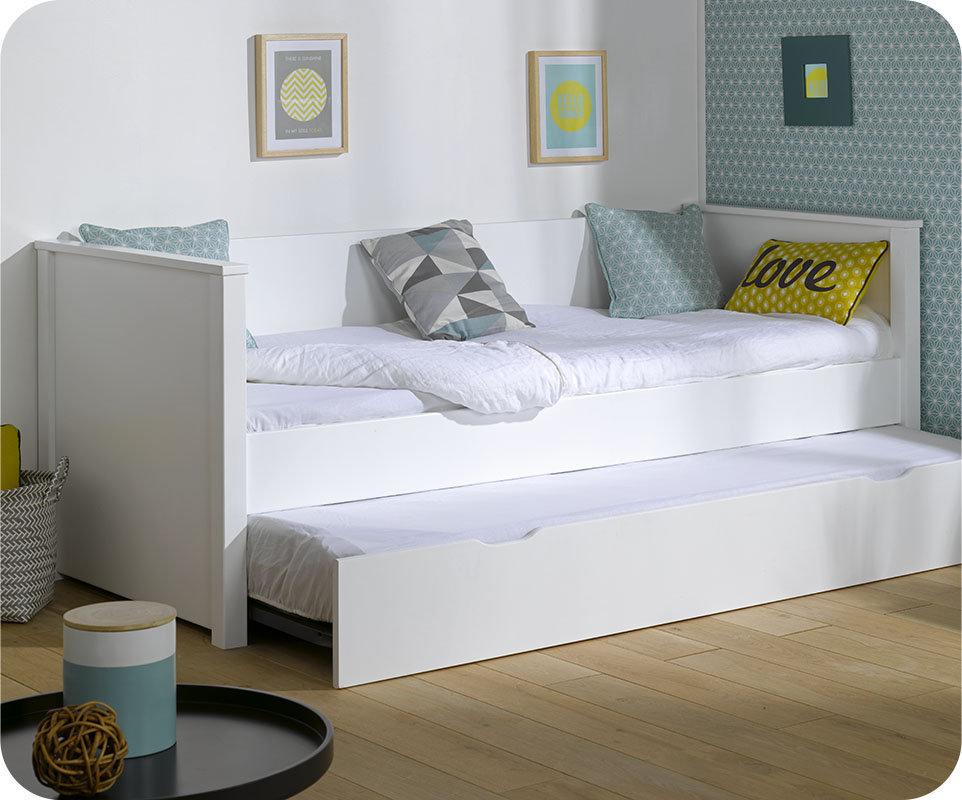 Sof cama nido nova 80x200 con colchones blanco - Camas nido lacadas en blanco ...