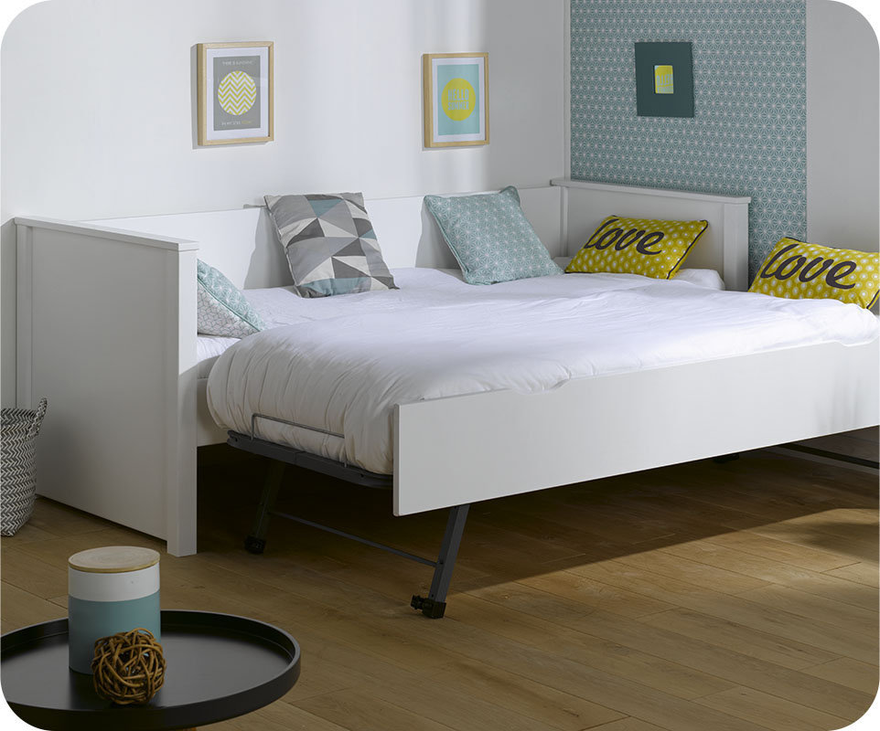 Sof cama nido nova 80x200 con colchones blanco for Cama nido con colchones