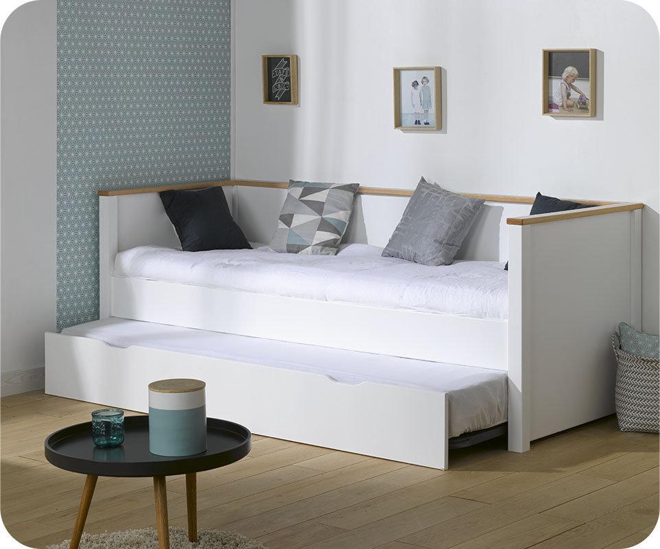 Sof cama nido nova 80x200 con colchones blanco haya - Camas tipo sofa ...