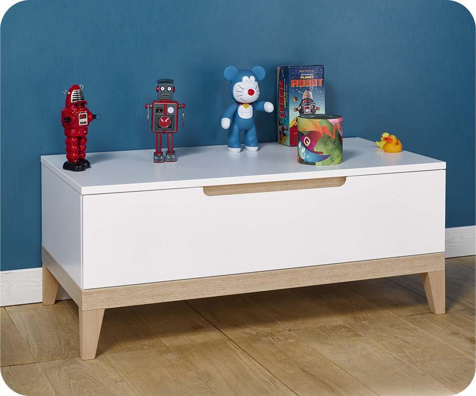 Mueble auxiliar bajo con cajón Blanco y Haya