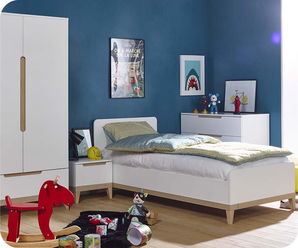 Dormitorio Juvenil Riga de 4 Muebles Blanco y Haya