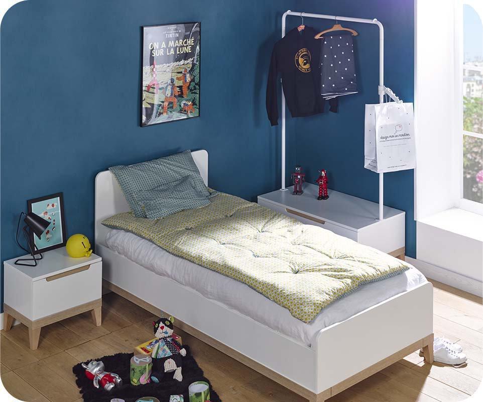 Mueble bajo con perchero abierto RIGA Blanco y Haya