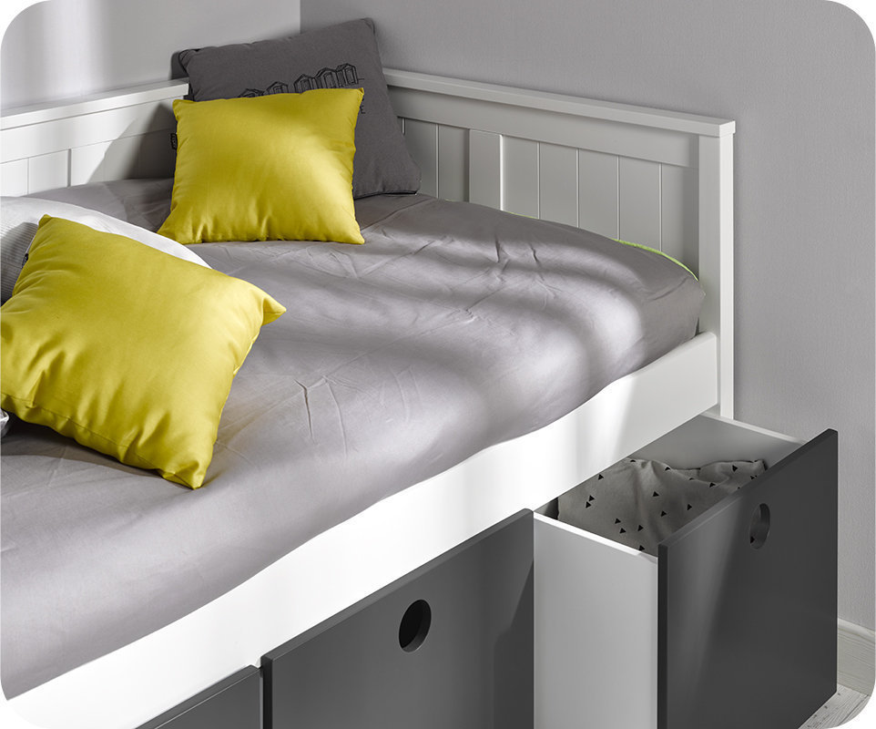 Sofa cama swam blanco con 4 cajas de almacenaje for Camas con almacenaje