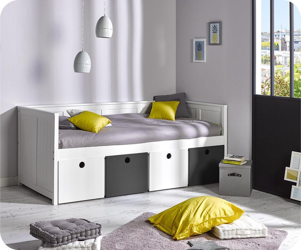 Sofa cama swam blanco con 4 cajas de almacenaje for Sofa cama con almacenaje