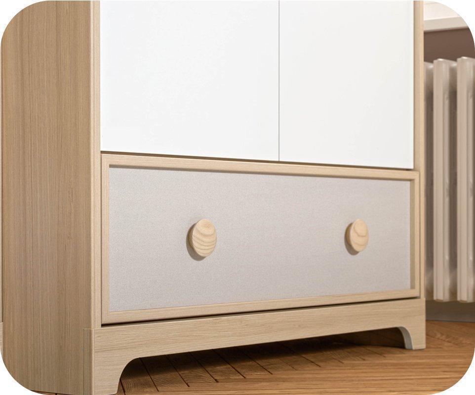 Armario beb eol 2 puertas y caj n madera y blanco - Armario madera blanco ...