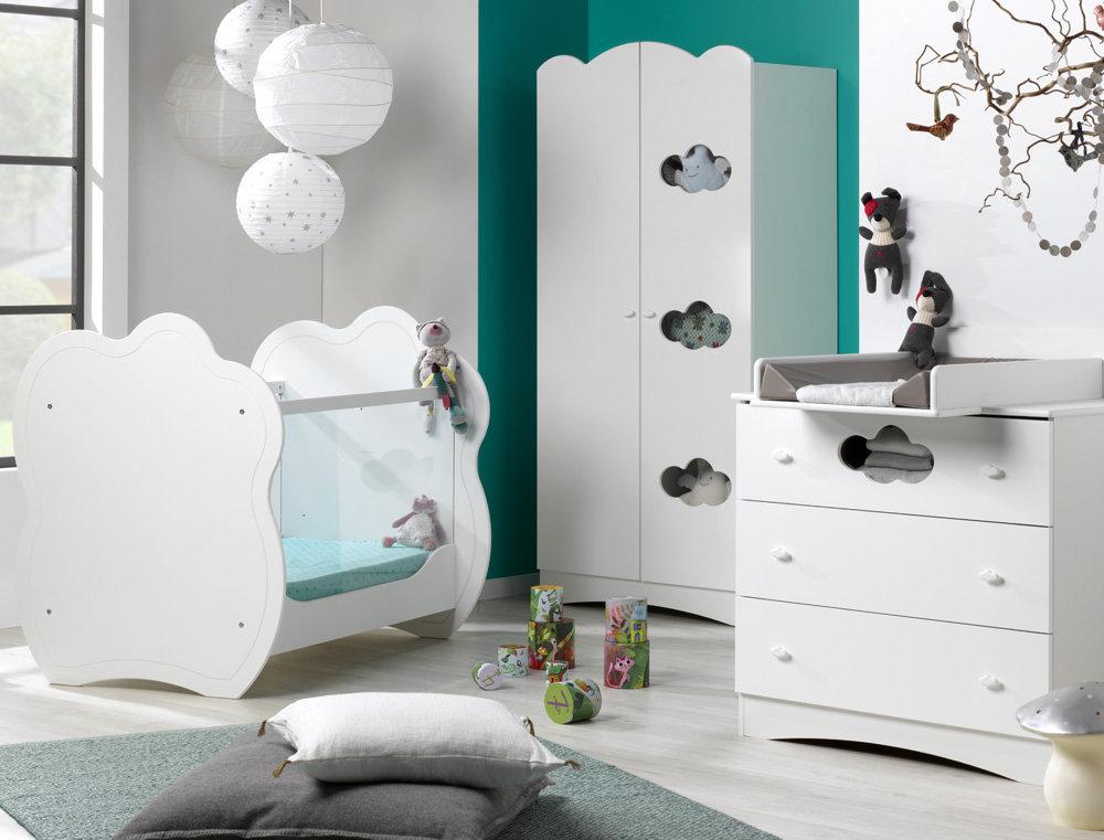 Habitaci n de beb color blanco cuna c moda y armario altea for Habitacion completa bebe boy