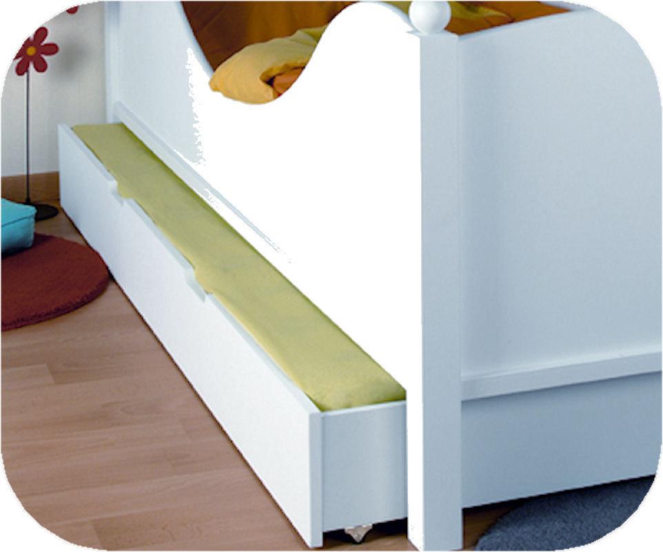 Caj n cama para cama juvenil de 90x190cm color blanco for Cama supletoria
